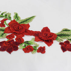 Rote Blume 34*18 cm stickte Applikations-Flecken für dekoratives DIY-Kleid