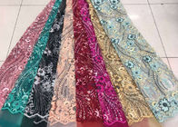 Embroidered Sequin Lace Fabric , Floral Tulle Fabric For Fashion Party Gown Dress