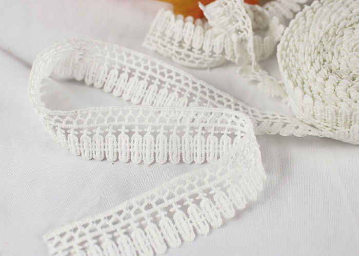 Milk Silk Polyester Embroidered Lace Trim For Dress / Garments Indian Style