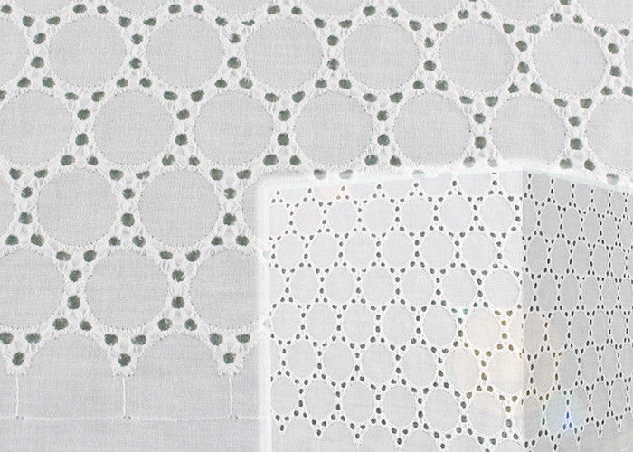 130CM White Cotton Eyelet Lace Fabric Openwork Circle Lace Design Dress Fabric