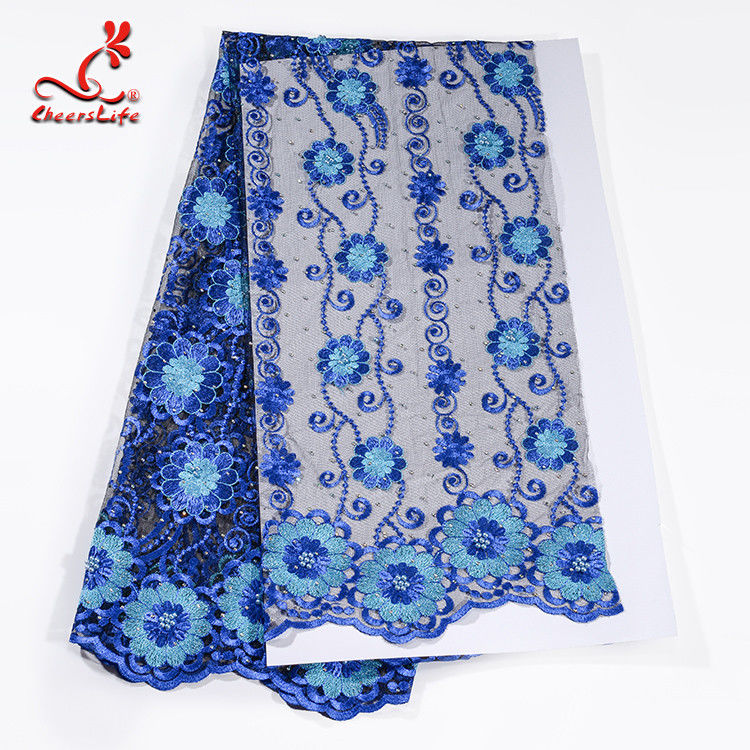 African Cord Blue Embroidered Floral Lace Fabric 127 CM Polyester